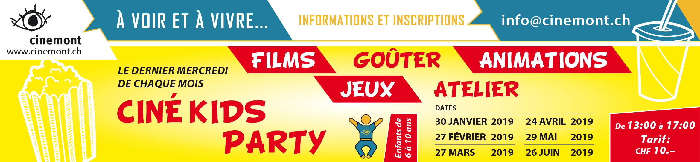 Cinemont Flyer A5 Ciné Kids Party BandeauWEB